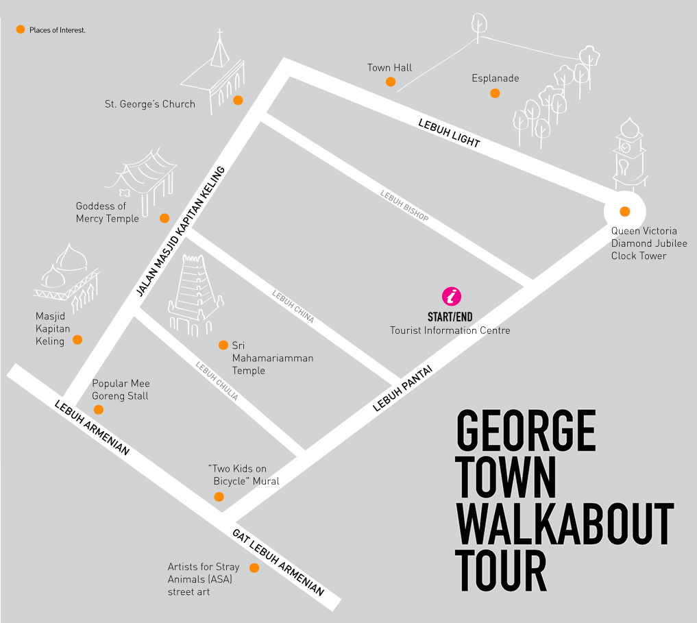 mapa ruta george town